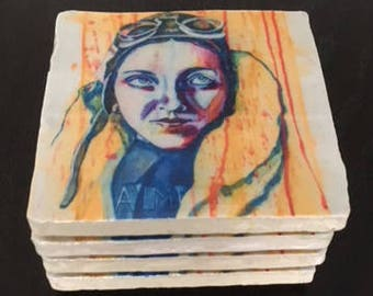 Amy Johnson coaster pack of 4