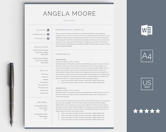 Resume Template For Word   Instant Download CV Template   Creative Design  With Cover Letter,