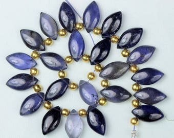 22 pieces smooth marquise iolite briolette beads 7 x 15 mm approx