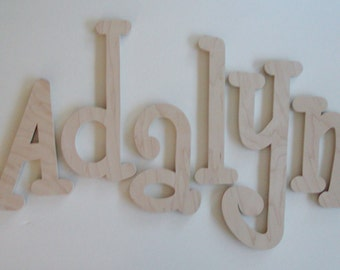 "Unfinished Wooden Letters,4"",5"",6"",7"" 8"",9"" Unpainted Wooden Letters, Wood Letters, Wall Letters- MANY SIZES AVAILABLE"
