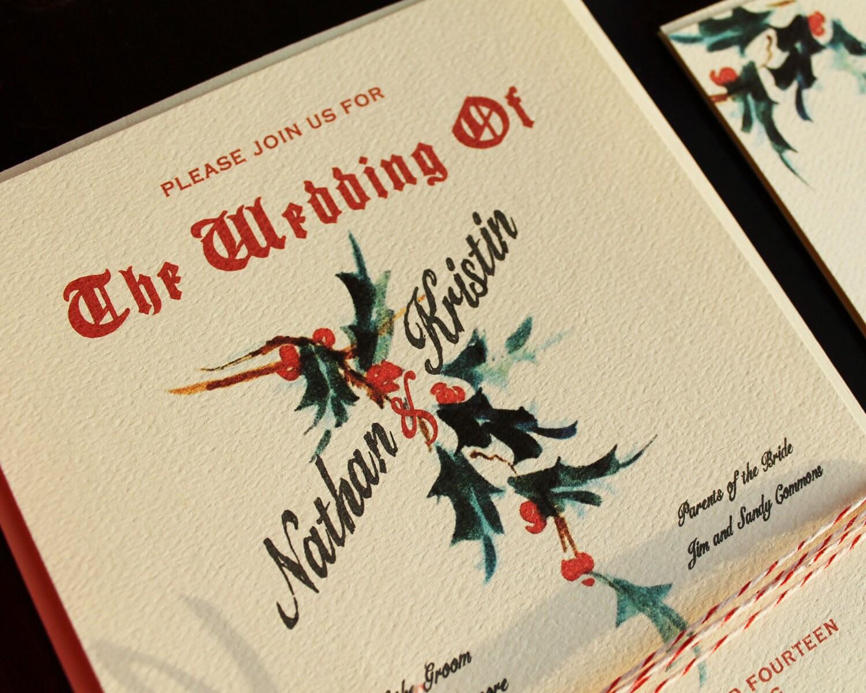 Christmas Wedding Invitation Suite Mistletoe Wedding