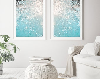Nautical Decor Set of 2 Prints, Blue Abstract Print, Ocean Photography, Large Wall Art Prints, Coastal Decor Printable Art Digital Download