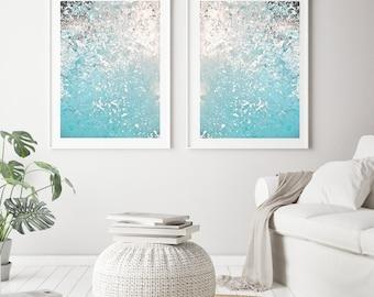 Nautical Decor Set of 2 Prints, Blue Abstract Print, Ocean Photography, Large Wall Art Prints, Coastal Decor Printable Art Digital Download