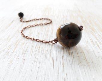 Tiger's Eye Pendulum, Copper Pendulum, Crystal Pendulum, Wiccan Tool, Divination Tools, Intuition Stone, Gemstone Pendulum, Dowsing Pendulum