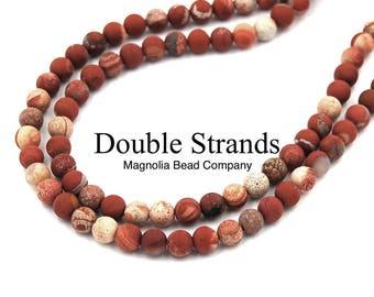 "Two 15"" strands White Lace Red Jasper Beads Matte 6mm Red Jasper"