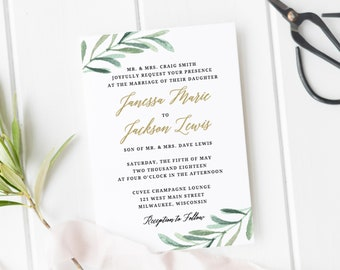 Greenery Wedding Invitation Template, Printable Wedding Invitations, Rustic Wedding Invites, 100% Editable in Templett
