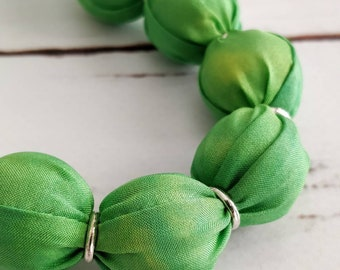 Green necklace, wedding guest outfit, gift for her, statement necklace, vintage style, gift for mum, boho necklace, gardener gift, silk gift