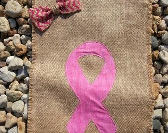 Breast Cancer Flag / Breast Cancer Awareness Flag / Burlap Garden Flag/ Garden Flag / Pink Ribbon / Survivor / Courage