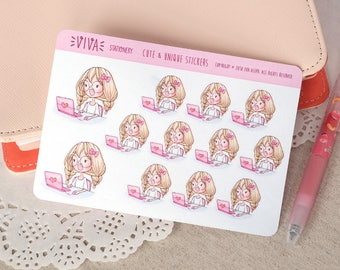 Kawaii Girl Decorative Stickers: Working/using the computer or laptop ~Valerie~ For your Life Planner, Diary, Journal, Scrapbook...