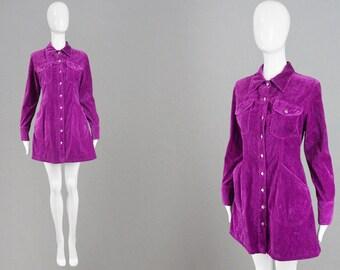 Vintage KATHARINE HAMNETT Magenta Dress Velvet Mini Dress Long Sleeve Dress Purple Velvet Dress Grunge Shirtdress Goth Shirt Dress Party