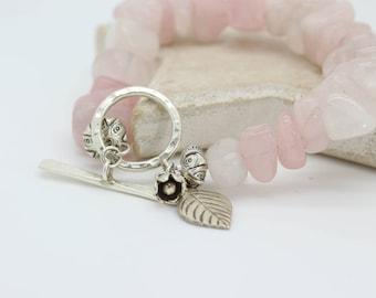 Rose quartz bracelet, Rose quartz chunky bracelet, Pink Gem bracelet,Silver charm bracelet,Thai silver bracelet, Boho nugget bracelet