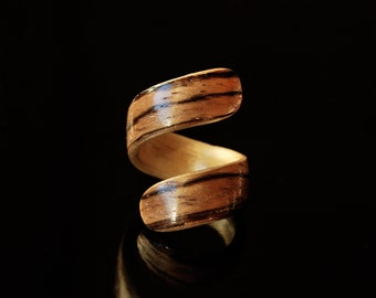 Handcrafted Wood Band Women · Zebrano and Maple Ring · Wood Ring Women · Bentwood • Gift For Her • Valentine Gift •