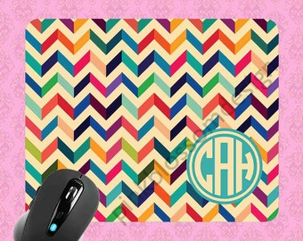 Monogrammed Mousepad - Geometric Chevron , Personalized Mouse pad , Monogram Mousepad