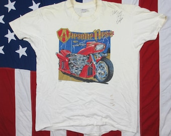 """Vintage 1990's Signed Arlen Ness Custom Motorcycle """"Awesome-Ness"""" Graphic T-Shirt XL Trashed Well Worn Biker Harley Davidson California"""