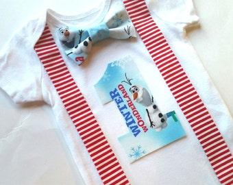 Disney Olaf - Winter Wonderland Onederland - Boys Bow Tie Birthday Shirt Smash Top