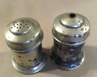 Rare antique 1930's  TW&S silver plated salt and pepper shaker