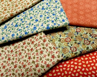Fall Color fat quarter quilt fabrics, Fat Quarter Bundle, Quilt Fabric, Variety pack of 6 Neutrals and Calicos, Thanksgiving Winter Colors,