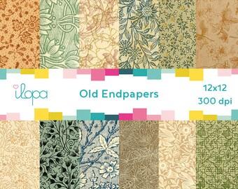 Digital Old Pattern Paper Floral Endpaper 300 dpi 12x12