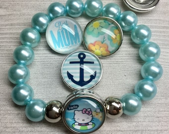 Aqua Bead Stretchy Bracelet Plus One Charm of Your Choice