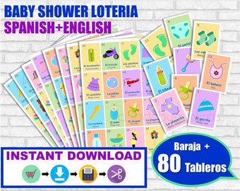 Lotería Baby Shower Ingles y Español. Baraja + 80 cartas. Juego para baby shower. PDF para imprimir. English and Spanish. Instant download