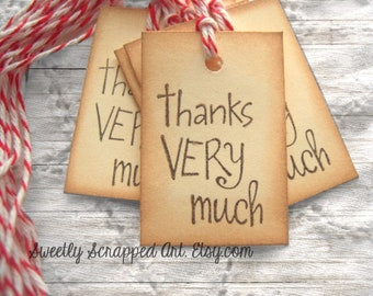8 Small THANK YOU Tags - Vintage Inspired Hand Aged with Red White Baker's Twine, Party, Birthday, Gift Bag, Favor Bags, Packaging, Diy