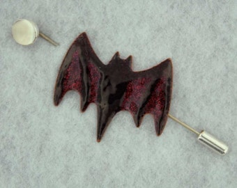 Bat with Moon Pin- An Enameled Bat with a Moonstone