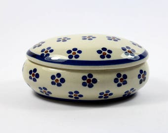 Porcelain box storage with floral pattern Ramsel from the 80s