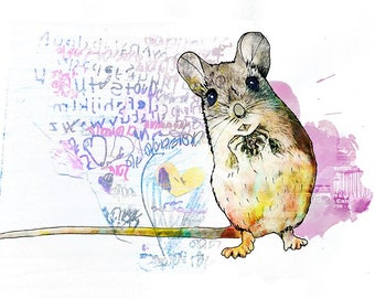 Mouse - kids decor - kids room - Nursery Art - Nursery Prints - Animal Prints - Childrens Art