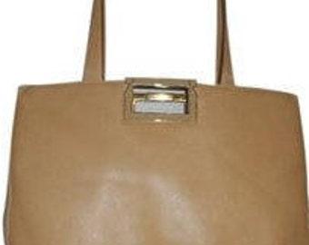 VINTAGE SALVATORE FERRAGAMO 15 x 12 x 3.5 Tan Tote Shoulder Bag Italy