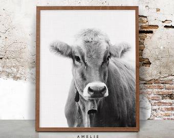 Cow Wall Art Print, Farmhouse Decor, Black And White Farm Animal  Photography, Rustic