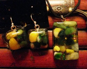 Rectangle Resin Pendant with Green and Yellow Pebbles and Gold and Green Sparkle Inclusions