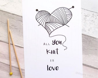 """Poster """"All you knit is love"""" • Gift for knitter • Inspirational quote poster • Black and white poster • Graphic poster"""