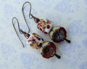 handmade lampwork, copper and flower earrings, red jewellery UK