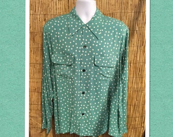 Vintage reproduction 1950s polka dot print rayon shirt