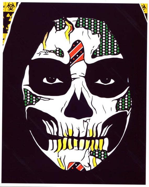 Grim Reaper Day Of The Dead original art abstract pop art skulls skeleton art Dia de los muertos original digital painting goth skull man