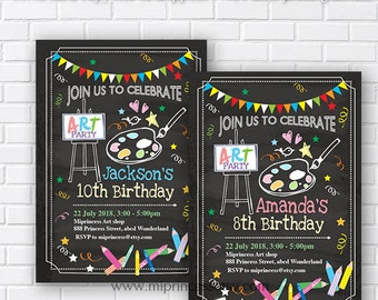 kids birthday party, coloring party, painting party, art birthday party, crayon party, drawing birthday, craft party, art party,  card 345
