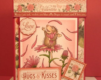 Valentine's Day Card - Handmade Greeting Card with Hand Stamped and Colored Image of Mouse Throwing Daisy Petals, Layered, Detailed, Fun