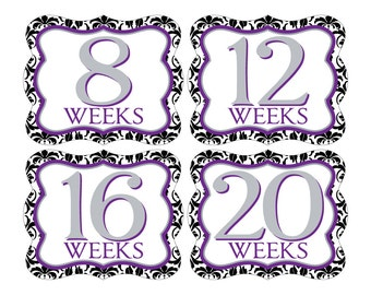 12 Weekly Pregnancy Mama-to-be Maternity Waterproof Glossy Die-cut Stickers  - Monthly stickers available - Design W002-02