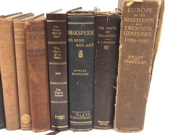 10 Brown Gold Old Vintage Books Hardback Leather Decorative Wedding Props Display Shabby Chic Books
