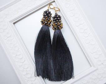 Black earrings Evening earrings Tassel earrings Silver earrings Embroidery earrings Beaded earrings Festive earrings Long earrings