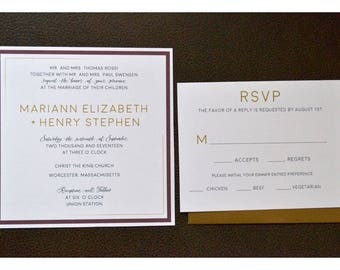 Modern Wedding Invitation with Simple Line Frame - Simple and Elegant Wedding Invites - Wedding Invitations