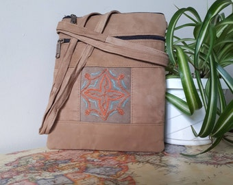 Handcrafted Kashmir Boho Chic Suede Leather Crossbody Purse in Sand