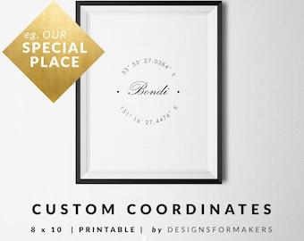 Custom Coordinates Printable - Custom Print - GPS Coordinates - Latitude Longitude Print - Typography Poster - Custom Calligraphy - Bondi 14