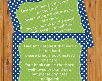 Baby Shower Book Card In Lieu of card Shower Invitation Inserts Instead of a card Green Navy Blue Polka Dots Printable PDF--Instant Download