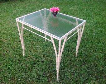 "FAUX BAMBOO TABLE / 30"" Long Vintage Faux Bamboo Patio Table / Metal Faux Bamboo Table / Old Florida Palm Beach Style Table Retro Daisy Girl"