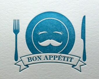 Letterpress Bon Appetit Note Card in Blue