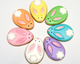 Decorated Cookies -CHOCOLATE- Easter - Rabbits - Easter Bunnies - 1 DOZEN