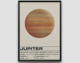 Jupiter Light Art Print Poster Planet Space Solar System Planets Infographic Galaxy