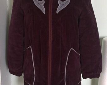 Purple plush corduroy jacket cozy insulated 1970s vintage Stadium coat size 8/10 medium
