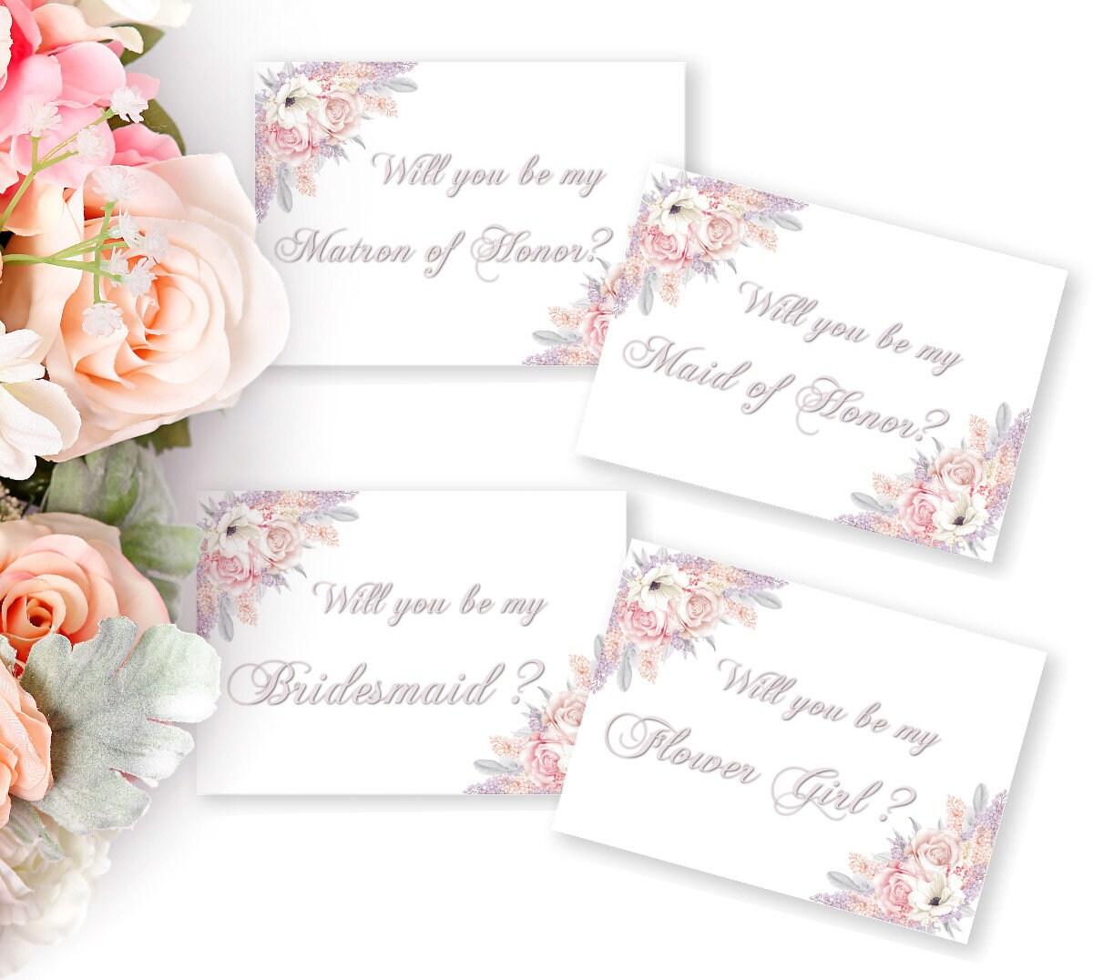 Hochzeitskarten Set, Trauzeugin, Brautjungfer, Blumenmädchen ...